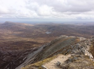 errigal mountain view from summit donegal august ireland
