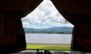 Glamping tents view Dromquinna Manor Ring of Kerry Wild atlantic Way Kenmare Kerry ireland