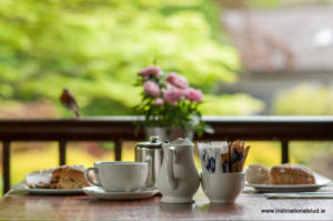 Tea and scone on the veranda of the japanese Gardens cafe at the Irish National Stud Kildare Ireland