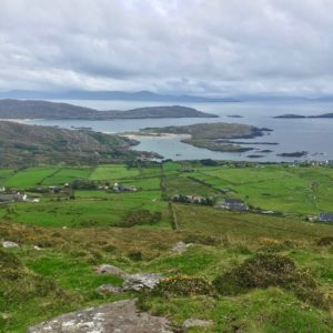 View onto Derrynane bay from Kerry way walking trail Waterville to Caherdaniel route Wild Atlantic Way Ireland