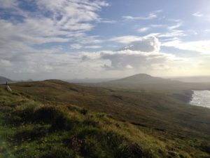 Views from Geokaun mountain Valentia across to Bray Head & out to Skellig Rocks Kerry Ireland Wild Atlantic Way