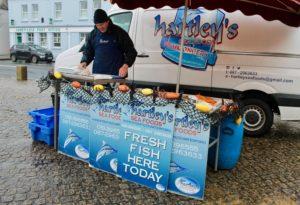 Hartleys seafood Abbeyleix market Laois Ireland winter January