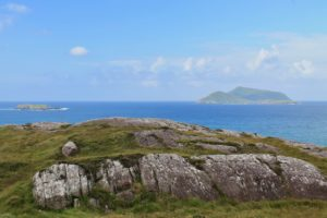 Scarriff Deenish island from Abbey island Derrynane bay Kerry Ireland