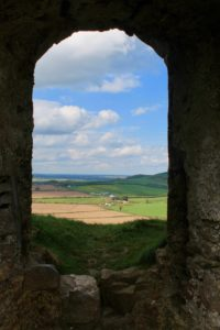 View out of the long hall northwards Rock of dunamaise Laois Irelands ancient East