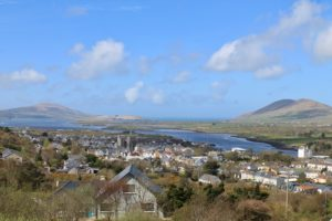 Looking west over Cahersiveen town towards Valentia Kerry Ireland Wild Atlantic Way